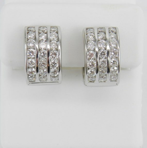 Diamond Huggies, Diamond Hoop Earrings, Wide Diamond Earrings, 18K White Gold Diamond Earrings, White Gold Huggie Earrings