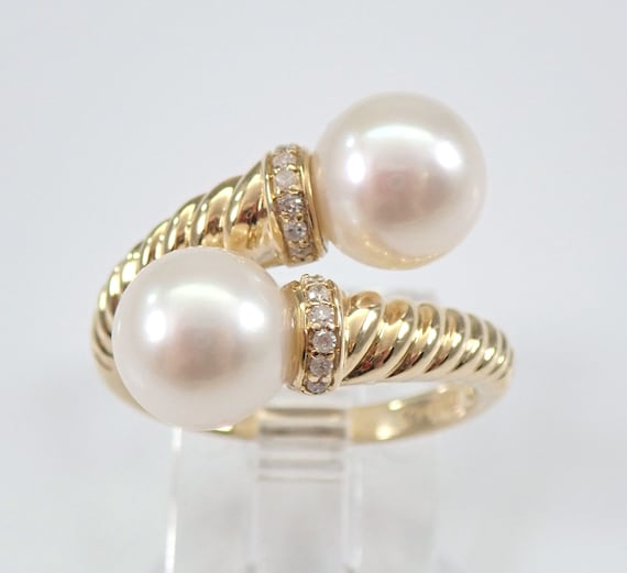 14K Yellow Gold Pearl and Diamond Bypass Engagement Ring Size 7.5 June Birthday FREE Sizing