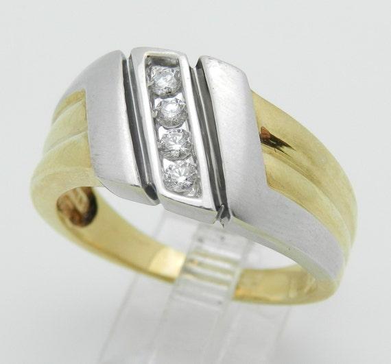 Men's Diamond Ring, Mens Wedding Ring, Mens Diamond Anniversary Band, 14K Yellow and White Gold Ring, Size 11.75