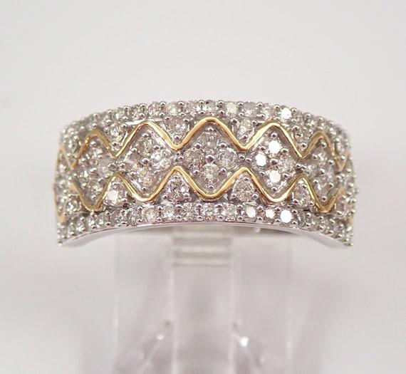 White and Yellow Gold 3/4 ct Diamond Wedding Band Anniversary Ring Size 7.25 FREE SIZING
