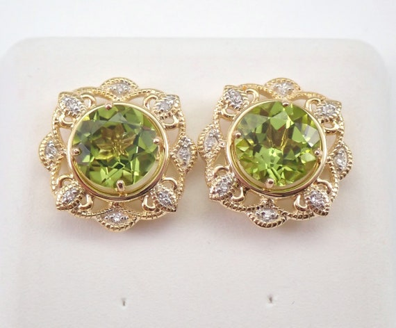 Yellow Gold 3.15 ct Diamond and Peridot Flower Stud Earrings Halo Jacket Set Studs August Birthstone