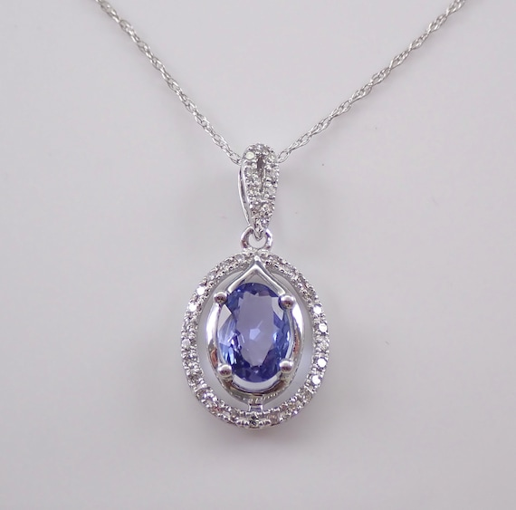"Diamond and Tanzanite Halo Pendant Necklace White Gold 18"" Chain Purple"