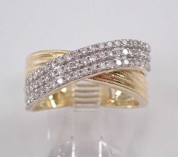 14K Yellow and White Gold Diamond Anniversary Ring Multi Row Crossover Wedding Band