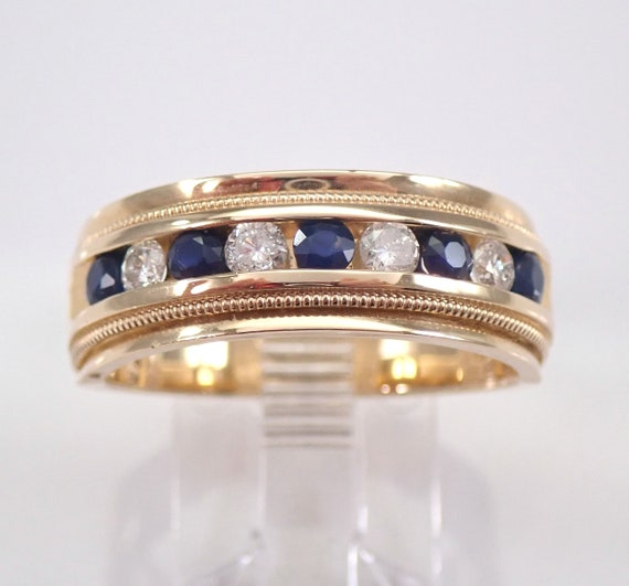 Mens Sapphire and Diamond Wedding Ring Anniversary Band 14K Yellow Gold Size 10