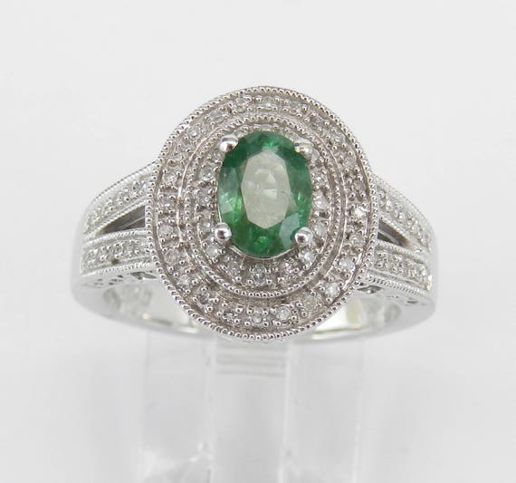 Emerald and Diamond Ring, Diamond Double Halo Ring, Emerald Engagement Ring, White Gold Emerald Ring, Size 7, May Birthstone