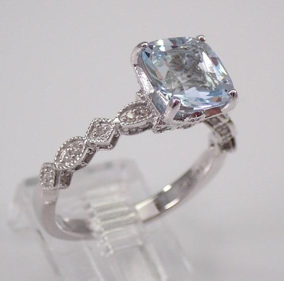 Cushion Cut Aquamarine and Diamond Engagement Ring Aqua 14K White Gold Size 7 March Gemstone