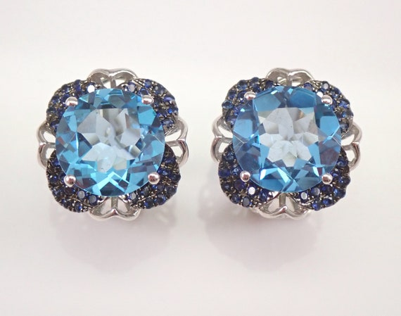 14K White Gold 7.26 ct Blue Topaz and Sapphire Earrings Omega Clasp