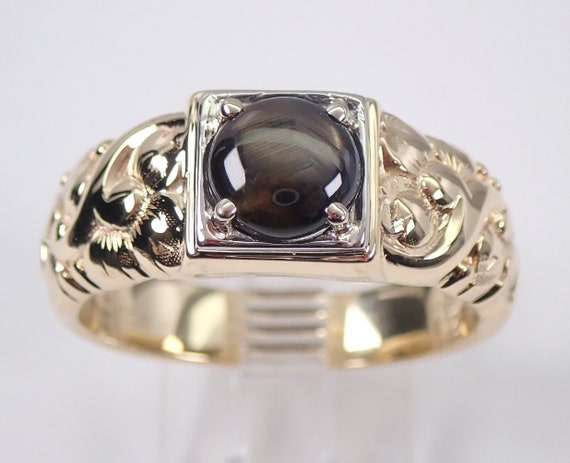 Vintage Antique JABEL 14K Yellow Gold Mens Black Star Sapphire Ring Size 10.5