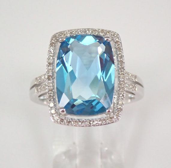 8.25 ct Blue Topaz and Diamond Halo Engagement Ring 14K White Gold Size 7.25 FREE Sizing