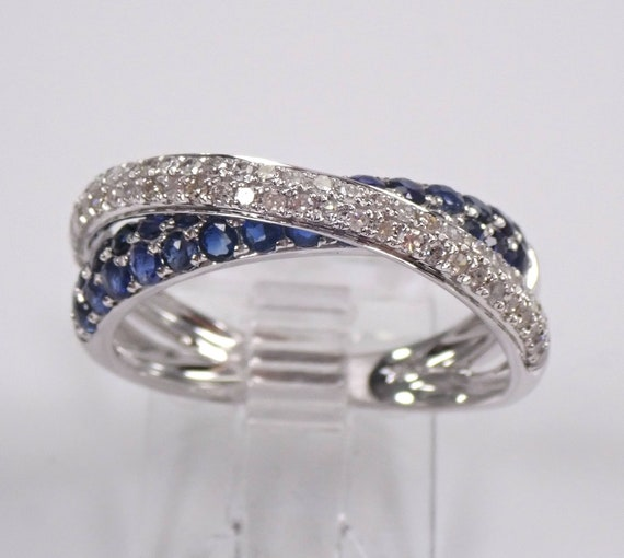 14K White Gold Diamond and Sapphire Crossover Anniversary Band Crisscross Wedding Ring Size 7 FREE Sizing