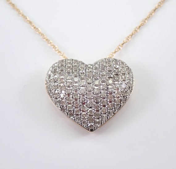 "Diamond Heart Necklace, Puffy Diamond Heart, Yellow Gold Pendant and Chain, Diamond Heart Pendant, Yellow Gold 18"" Chain"