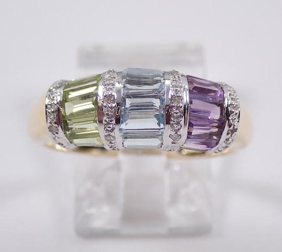 Yellow Gold Diamond Aquamarine Amethyst Peridot Wedding Ring Anniversary Band Size 7.5