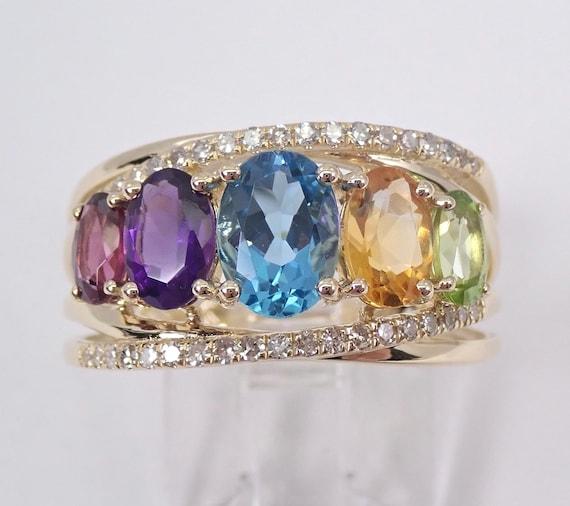 Yellow Gold Multi Color Gemstone Diamond Ring Blue Topaz Amethyst Citrine Garnet Peridot