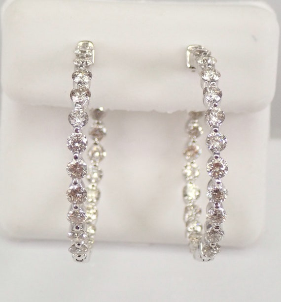 14K White Gold 3.00 ct Diamond Hoop Earrings Diamond Hoops In and Out Modern Design