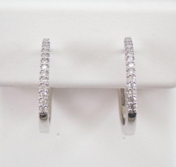 White Gold Diamond Huggie Earrings Diamond Hoop Earrings Hoops Huggies Modern Design