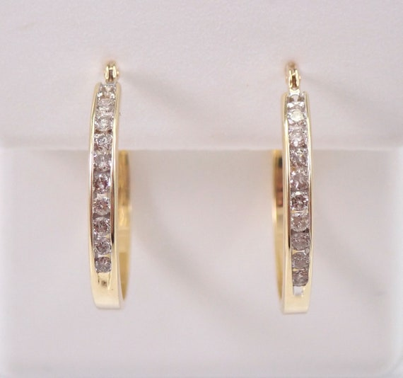 14K Yellow Gold 1/4 ct Diamond Hoop Earrings Diamond Hoops Huggies Gift