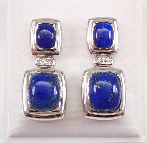 Vintage Estate Sterling Silver Lapis Lazuli and Diamond Dangle Earrings