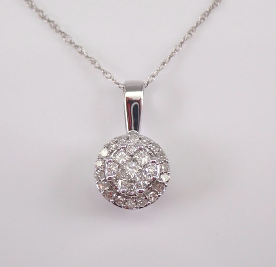 Diamond Cluster Pendant 14K White Gold Diamond Halo Circle Wedding Necklace Chain 18""