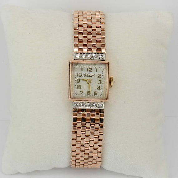 Antique Vintage Retro 14K Rose Gold Diamond CHALET Ladies Bracelet Watch