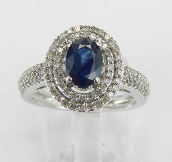 Diamond and Sapphire Double Halo Engagement Promise Ring White Gold Size 6 September Birthstone