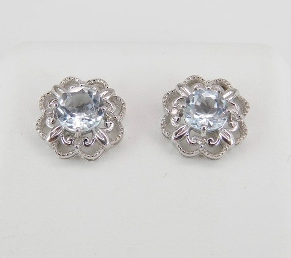 Aquamarine and Diamond Stud Earrings Halo Flower Wedding Studs 14K White Gold March Gemstone