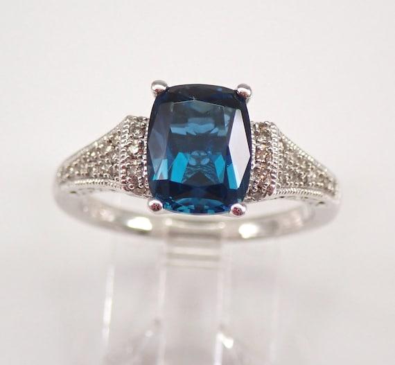 Diamond and Cushion Cut London Blue Topaz Engagement Ring White Gold Size 7 December Birthstone FREE Sizing