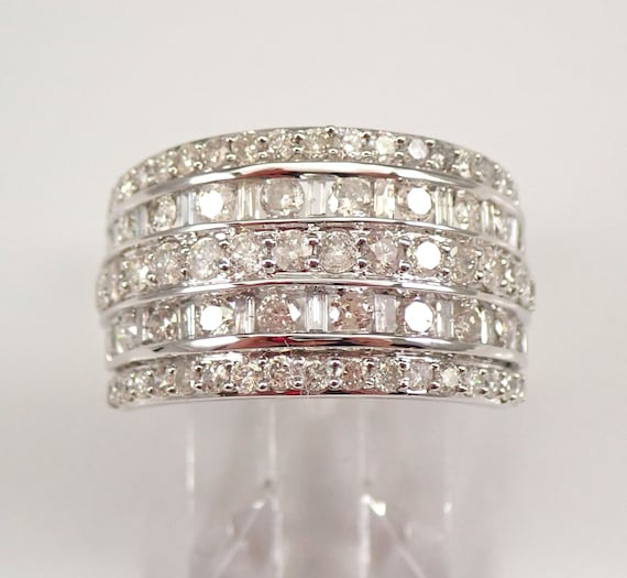 White Gold 2.00 ct Diamond Wedding Ring Anniversary Band Size 7 Round Baguette FREE Sizing