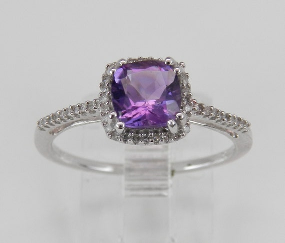Diamond and Cushion Cut Amethyst Halo Engagement Promise Ring Size 7 White Gold