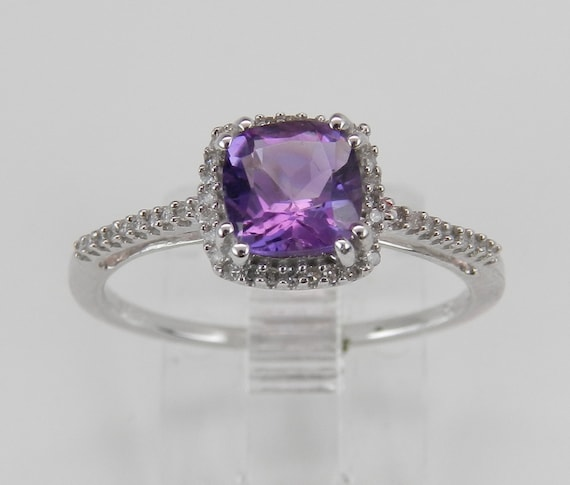 SALE PRICE! Diamond and Cushion Cut Amethyst Halo Engagement Promise Ring Size 7 White Gold