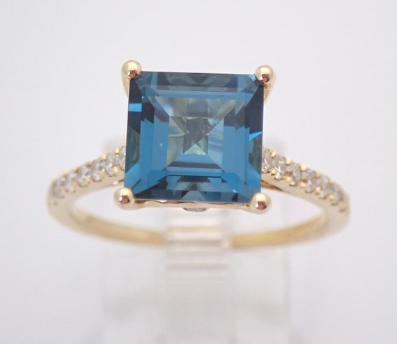 Princess Cut London Blue Topaz and Diamond Engagement Ring Yellow Gold Size 7 December Birthstone FREE Sizing