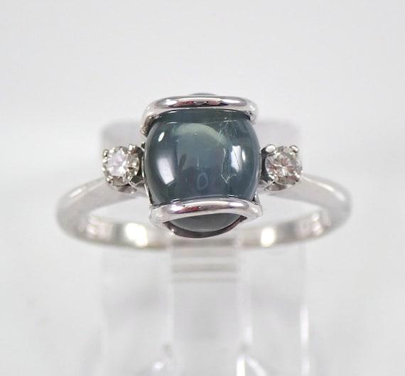 Vintage Cat Eye Green Star Sapphire Engagement Ring 14K White Gold Size 5.75