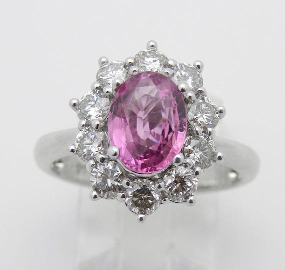 Pink Sapphire and Diamond Ring, Halo Diamond Engagement Ring, 14K White Gold Pink Sapphire Ring, Size 6.75