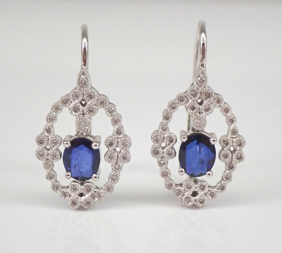 Sapphire and Diamond Vintage Style Earrings 18K White Gold Drop Dangle Leverback