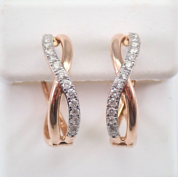 14K Rose Gold Diamond Hoop Earrings Diamond Hoops Huggies Gift Modern Design