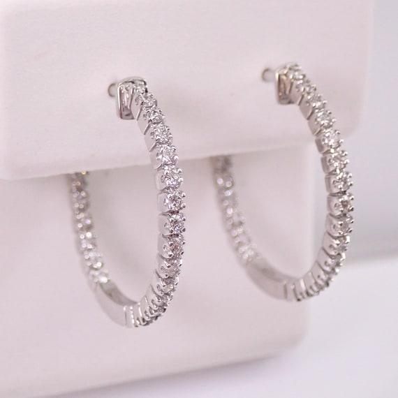 "14K White Gold Diamond Hoop Earrings Diamond Hoops In and Out  Modern 3/4"""