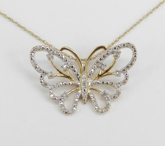 """Diamond Butterfly Pendant, Yellow and White Gold Necklace, Diamond Butterfly Necklace, Yellow Gold Chain 18"""" Wedding Gift"""