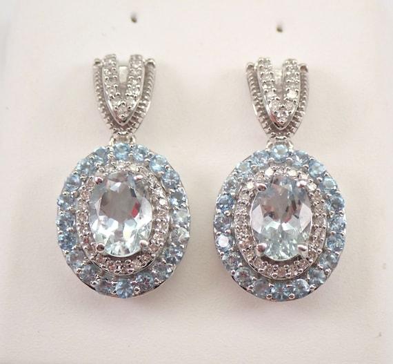 3.00 ct Diamond Aquamarine Blue Topaz Halo Drop Earrings White Gold March Gemstone