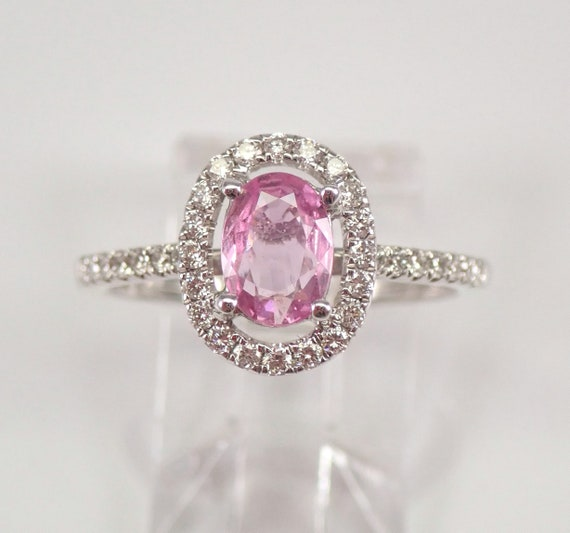 Pink Sapphire and Diamond Halo Engagement Ring 18K White Gold Size 7 FREE SIZING