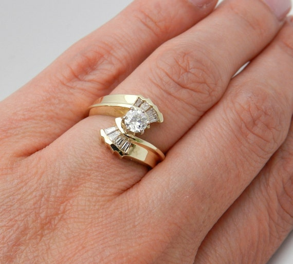 Diamond Engagement Ring, 14K Yellow Gold Engagement Ring, Round Diamond, Bypass Ring