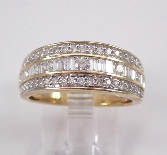 Diamond Wedding Ring Anniversary Band Yellow Gold Size 7 Three Row Band FREE Sizing