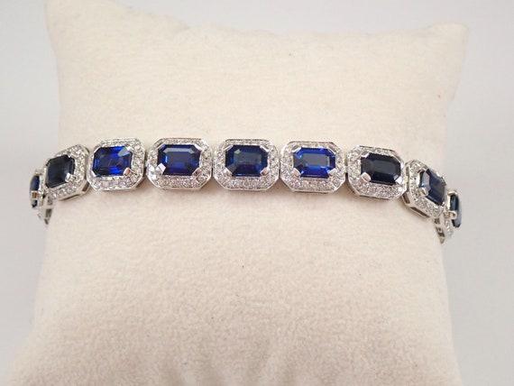 "18K White Gold 13.81ct Sapphire and Diamond Halo Tennis Bracelet 7"" AMAZING DEAL"
