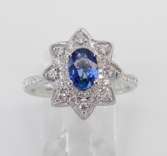 18K White Gold Diamond and Sapphire Halo Engagement Ring, Size 7, September Birthstone, Princess Style Ring
