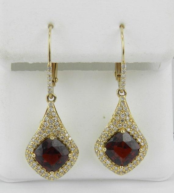 14K Yellow Gold Cushion Cut Garnet and Diamond Earrings January Gemstone