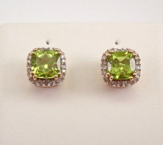 Cushion Cut Peridot and Diamond Stud Earrings Halo Studs Yellow Gold August Gemstone