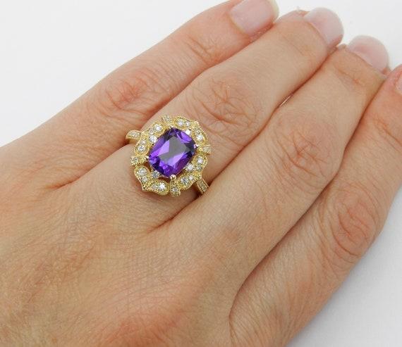 SOLD Amethyst Engagement Ring, Cushion Cut Amethyst, Diamond and Amethyst Ring, 14K Yellow Gold Ring, Purple Gemstone Ring, February Gem