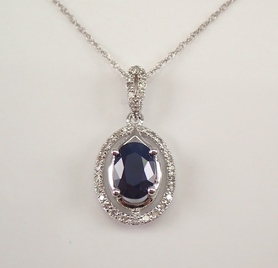 "Diamond and Sapphire Halo Pendant Necklace White Gold 18"" Chain Wedding Gift September Birthstone"