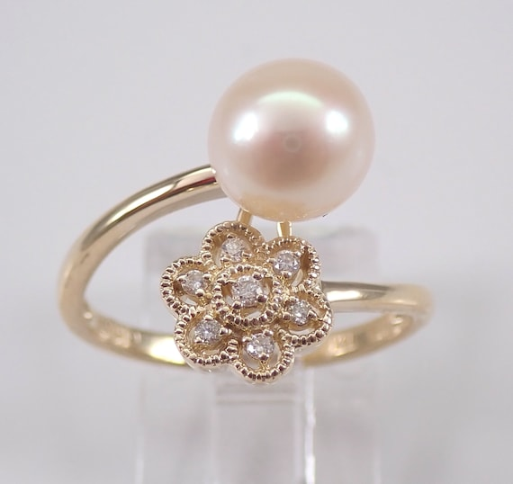 14K Yellow Gold Pearl and Diamond Flower Ring Cluster Bypass June Gem Size 7 FREE Sizing