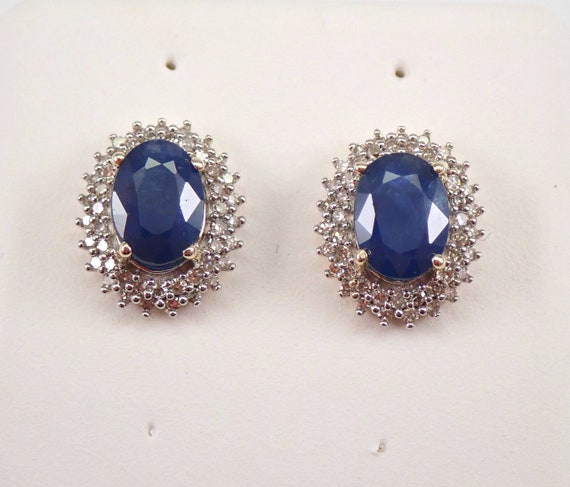 Yellow Gold Sapphire and Diamond Halo Stud Earrings 1.35 ct Studs September Birthstone