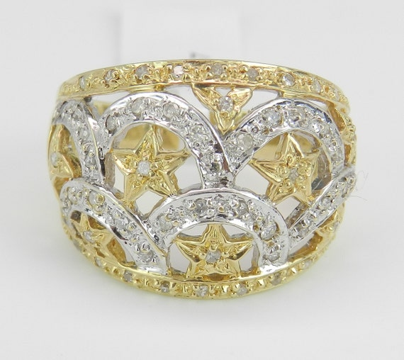 Star Ring, Diamond Anniversary Ring 14K Yellow and White Gold Wide Band Size 9 FREE Sizing
