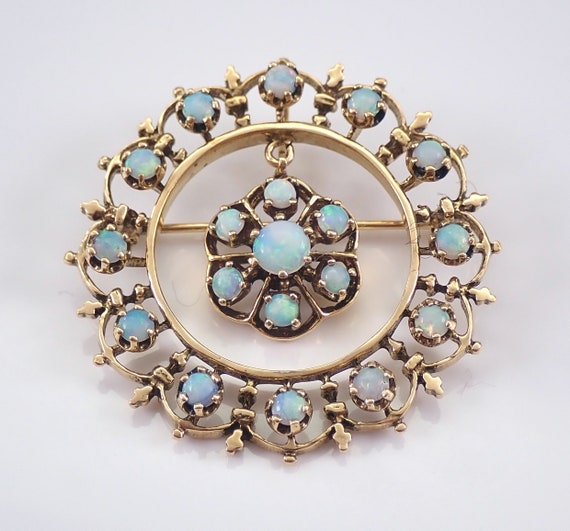 Vintage Antique 14K Yellow Gold Opal Circle Cluster Brooch Pin Dangle Pendant